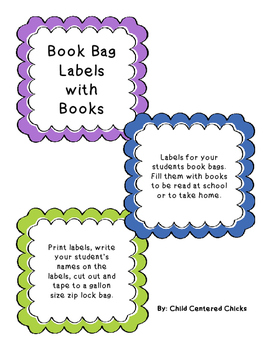 Book Bag  Labels with Books