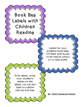 Book Bag  Labels with Children Reading