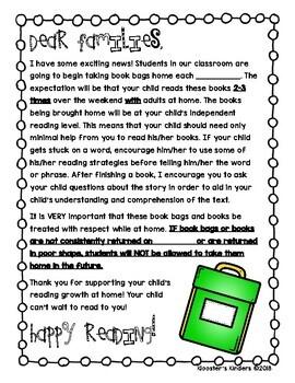 Book Bag Introduction Parent Letter Home - Missing Book Bag Note - Book Bag Tag