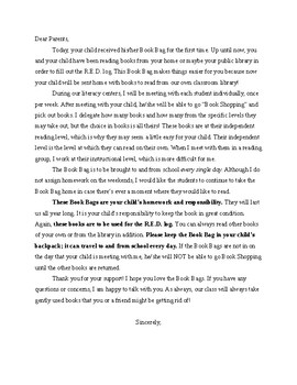 Book Bag Letter Home to Parents