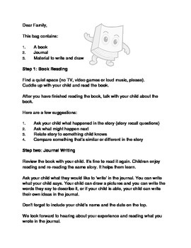 Book Bag Letter/ Reading Program
