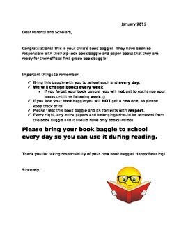 Book Baggie Letter for Families!
