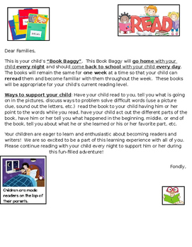 Book Baggy Letter to Parents in English & Spanish