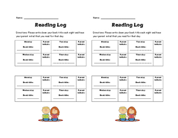 Book Bags and Reading Log