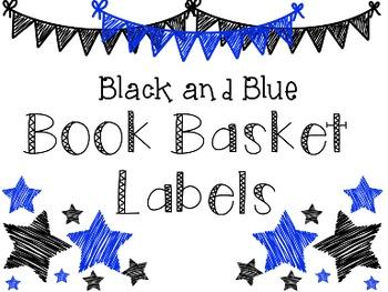 Book Basket Labels: Black and Blue