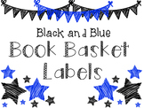 Book Basket Labels: Black and Blue