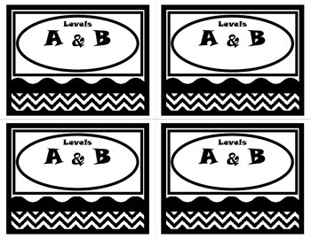 Book Basket Labels-Black and White Chevron