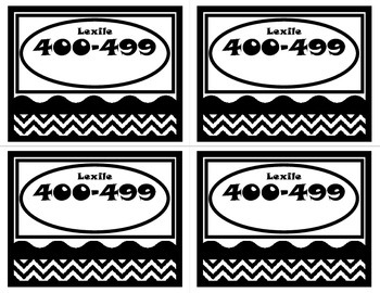 Book Basket Labels-Black and White Chevron (Lexile)