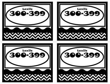 Book Basket Labels-Black and White Chevron (Lexile)