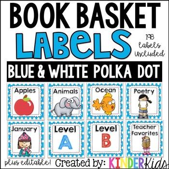 Book Basket Labels {Blue & White Polka Dot} plus Editable Page