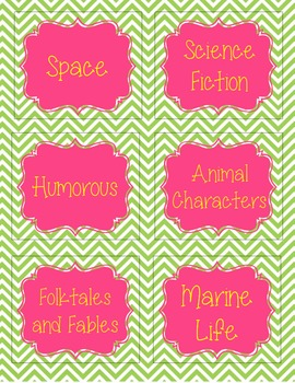 Book Basket Labels (Chevron)