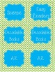Book Basket Labels (Chevron) Green and Blue