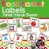 Book Basket Labels {Forest Friends Chevron} plus Editable Page