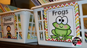 Book Basket Labels {Forest Friends Chevron} plus Editable Page