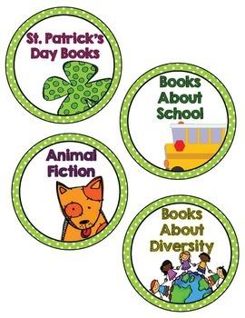 Book Basket Labels- Green