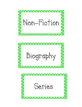 Book Basket Labels Green Polka Dot