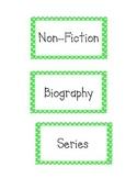 Book Basket Labels Green Polka Dot