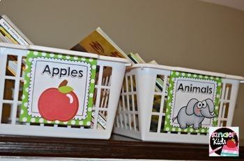 Book Basket Labels {Green & White Polka Dot} plus Editable Page