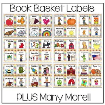 Book Basket Labels {Primary Chevron} plus Editable Page