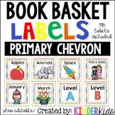Book Basket Labels {Primary Chevron} plus Editable Page