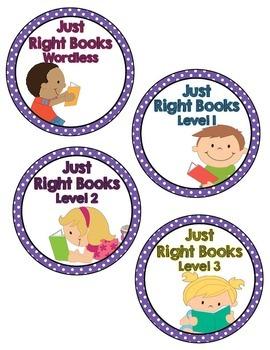 Book Basket Labels- Purple