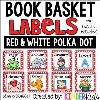Book Basket Labels {Red & White Polka Dot} plus Editable Page