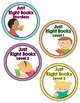 Book Basket Labels- Shabby Chic- Rustic Rainbow Burlap