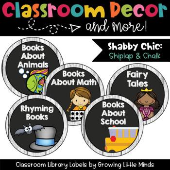 Book Basket Labels- Shabby Chic- Rustic Shiplap Wood Chalkboard