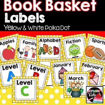 Book Basket Labels {Yellow & White Polka Dot} plus Editable Page