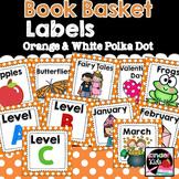 Book Basket Labels {Orange & White Polka Dot} plus Editable Page