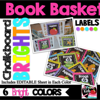 Book Basket Labels for Classroom Library {Chalkboard BRIGHTS} plus Editable Page