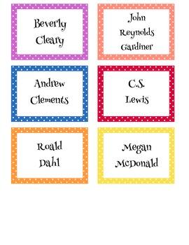 Book Basket Labels for upper elementary