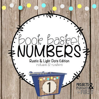 Book Basket Numbers: Rustic & Light Dots