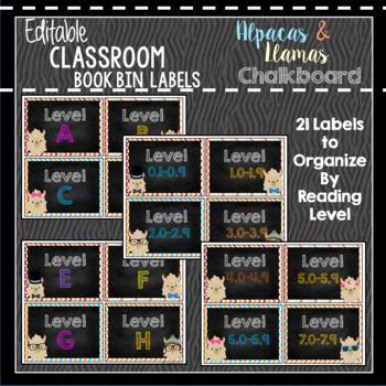 Book Bin & Book Basket Labels Editable: Alpaca & Llama Chalkboard