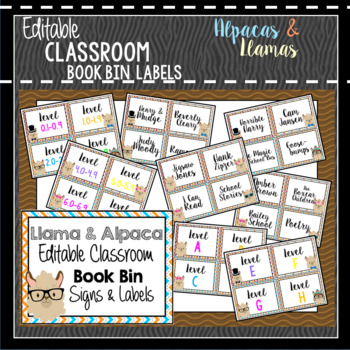 Book Bin & Book Basket Labels Editable: Alpaca & Llama