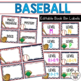 Book Bin & Book Basket Labels Editable: Baseball