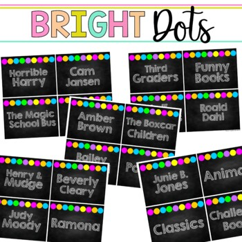 Book Bin & Book Basket Labels Editable: Chalkboard Bright DOTS