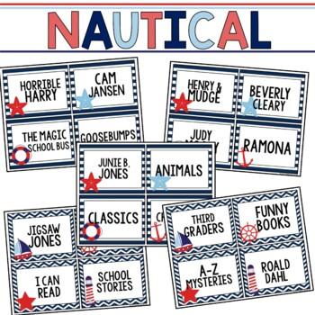 Book Bin & Book Basket Labels Editable: Nautical