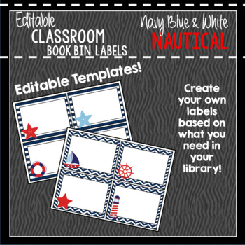 Book Bin & Book Basket Labels Editable: Nautical