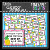 Book Bin & Book Basket Labels Editable: Pineapple Brights