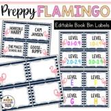 Book Bin & Book Basket Labels Editable: Preppy Flamingos
