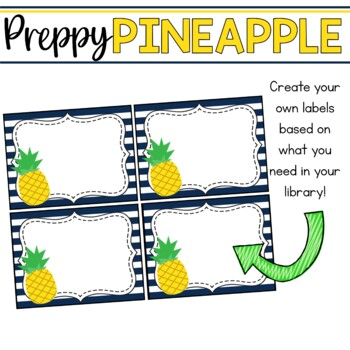 Book Bin & Book Basket Labels Editable: Preppy Pineapples