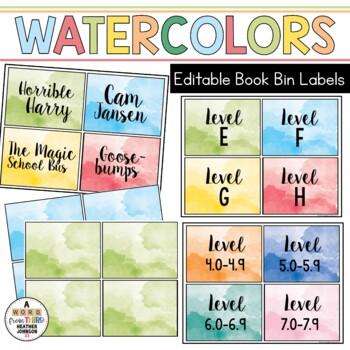 Book Bin & Book Basket Labels Editable: Watercolors