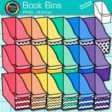 Book Bin Clip Art {Rainbow Library Book Resource Basket Graphics for Teachers}
