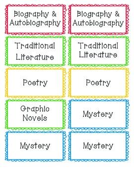 Book Bin Genre, Series & Author Labels