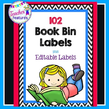 Book Bin Labels (Black & White Chevron)