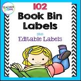 Black & White Chevron Book Bin Labels for Classroom Library EDITABLE