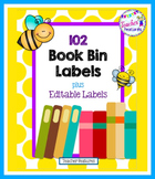 Yellow Honey Bee Theme Book Bin Labels for Classroom Library EDITABLE