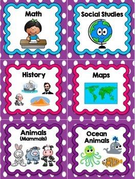 Book Bin Labels (Purple Polka Dot)