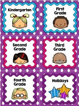 Book Bin Labels | Classroom Library Labels | Purple Polka Dot